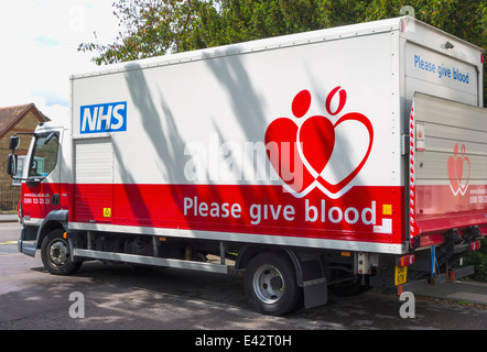 NHS Blood Transfusion Service truck - Stock Photo