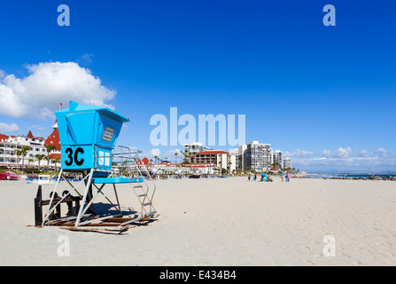 The beach in front of the Hotel del Coronado, Coronado Beach, San Diego, California, USA - Stock Photo