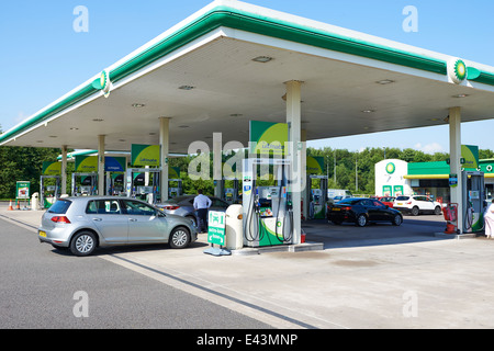 Fuel Forecourt BP Connect Norton Canes Services Staffordshire UK - Stock Photo