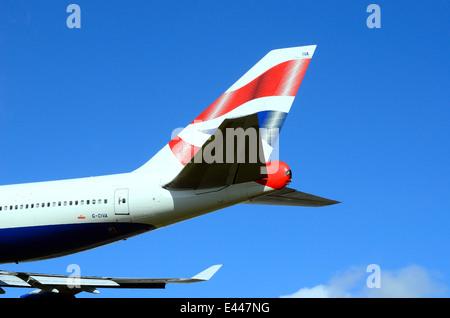 Tailplane of British Airways Jumbo jet - Stock Photo