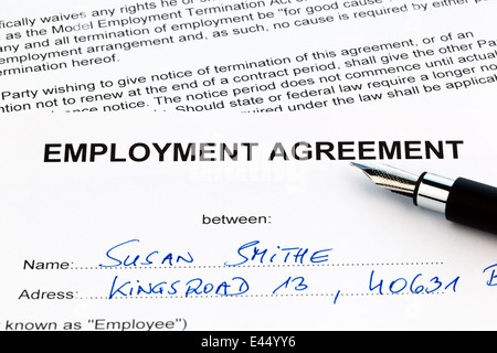 The employment contract of an employee with the employer.(In English) - Stock Photo