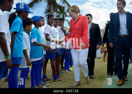 German Chancellor Angela Merkel visiting a social project for children and adolescents run by the German Society - Stock Photo
