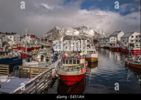 Fishing village Henningsvær, Austvågøy, Lofoten, Norway - Stock Photo