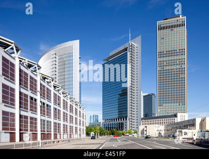 Castor and Pollux office towers and Tower 185, Hall 1 of the Frankfurt Trade Fair on the left, Europaviertel quarter - Stock Photo