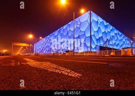 The Beijing National Aquatics Center, also Water Cube, Beijing, China - Stock Photo