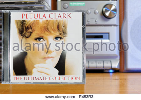 Petula Clark Ultimate Collection album, piled music CD cases, England - Stock Photo
