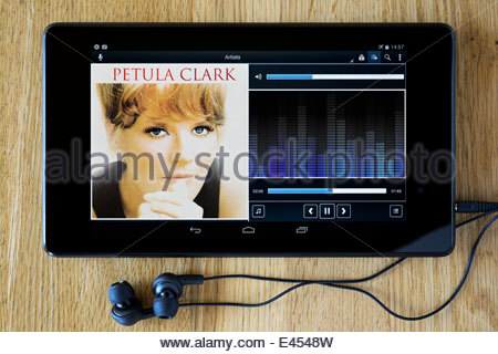 Petula Clark Ultimate Collection album, MP3 album art on PC tablet, England - Stock Photo