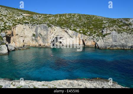 Stunning blue cove Zante - Stock Photo