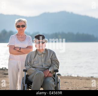 Portrait of senior couple, Big Bear Lake, California, USA - Stock Photo