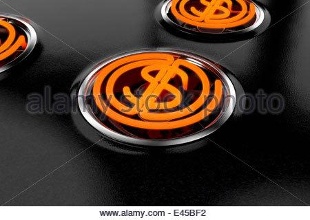 Hot dollar symbol stove top hob burner - Stock Photo