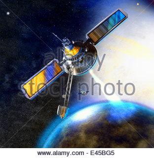 Satellite beam communicating with earth - Stock Photo