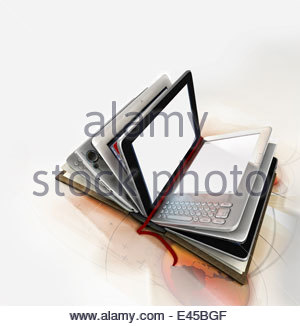 Book with digital tablet pages - Stock Photo