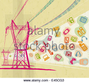 Digital technology devices and symbols below electricity pylons carrying binary code wires - Stock Photo