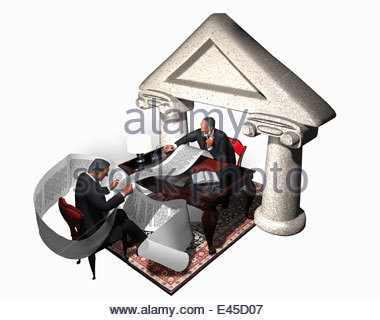 Lawyer and businessman scrutinizing long document - Stock Photo