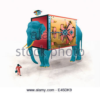 Businessman comparing large elephant bank or small bird bank - Stock Photo