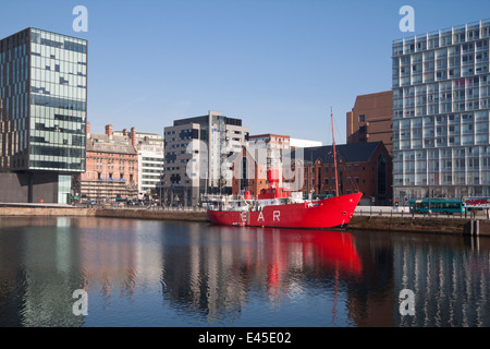 Pilot boat or light ship 'Planet' moored in Liverpool's Canning docks.  It was known as LV23 light Vessel - Stock Photo