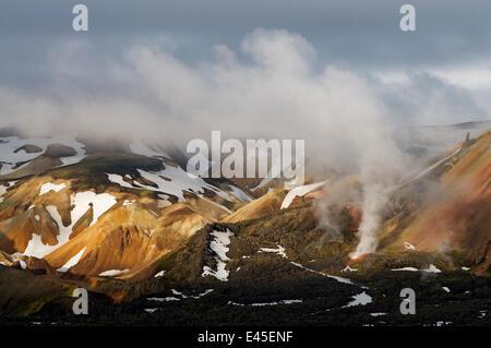 Steam vents in the Rhyolite / Rhiolite mountains, Landmannalaugar, Iceland, June 2008 - Stock Photo
