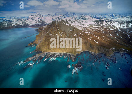 Aerial view of the wild north east coast of South Georgia, Antarctica, December 2006 - Stock Photo