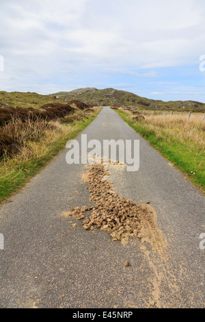 Looking along a narrow country lane with manure droppings from wild ponies. South Uist Outer Hebrides Western Isles - Stock Photo