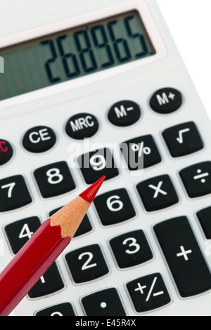 A red pencil and a calculator. image icon for streamline and economize - Stock Photo