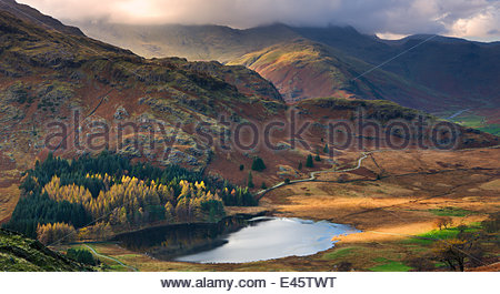 Blea Tarn and Wrynose Fell in the Lake District National Park, Cumbria, England, UK. November 2009 - Stock Photo