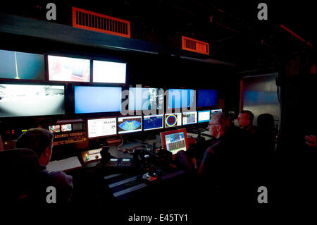 ROV (Remotely operated vehicle) Isis Control room on board James Cook research vessel for research into mid Atlantic - Stock Photo