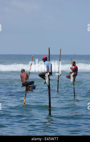 Traditional fishermen of Weligama, seated on long poles, fishing with rods, Sri Lanka, June 2010 - Stock Photo