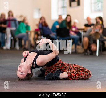 German dancer Oktavia Zoe-Vöhringer shows her performance at Extraschicht - the annual night of industrial culture - Stock Photo
