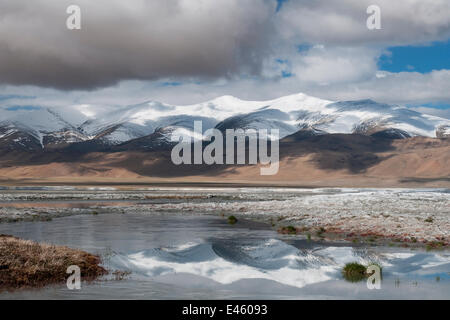 Reflection of mountain range, in Tso Kar lake, Ladakh, India, June 2010 - Stock Photo
