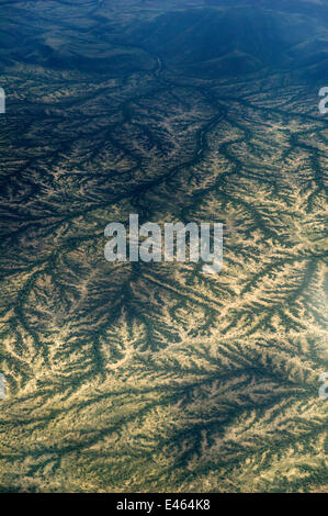 Dendritic drainage of the land at the end of the rainy season, a view from the air. Northern Kenya, Africa, November. - Stock Photo
