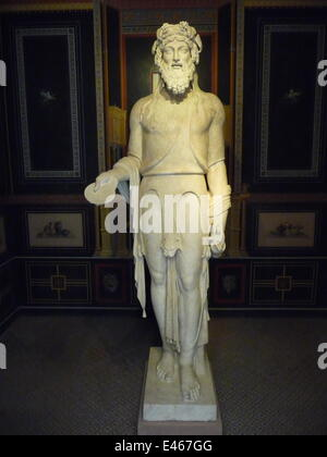 Aschaffenburg, Bavaria, Germany. 17th May, 2014. Roman statue of God Bacchus or Greek Dionysos in the sleeping room - Stock Photo