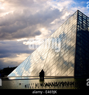Louvre Pyramid at the Louvre Museum, Paris, France, Europe - Stock Photo