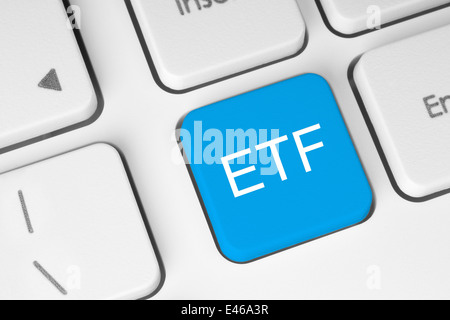 ETF (Exchange Traded Fund) blue button on white keyboard close-up - Stock Photo