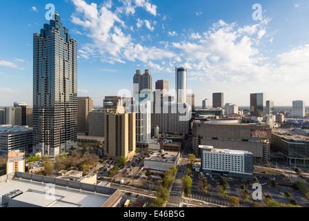 Elevated view over Downtown Atlanta skyline, Georgia, United States of America - Stock Photo