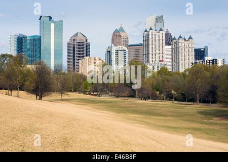 Midtown Skyline from Piedmont Park, Atlanta, Georgia, United States of America - Stock Photo