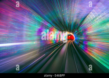 Sightseeing tunnel lights under the Huangpu River in Shanghai, China. - Stock Photo