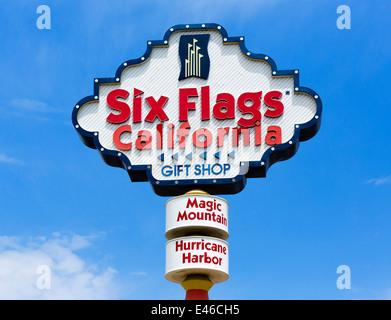 Sign outside Six Flags California (Magic Mountain and Hurricane Harbor), Valencia, Santa Clarita, California, USA - Stock Photo