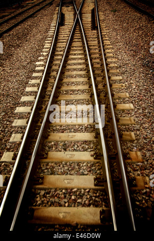 Railway track or train tracks - Stock Photo