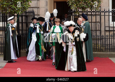 Edinburgh, UK. 03rd July, 2014. The Queen, the Duke of Edinburgh, Prince William and the Princess Royal leaving - Stock Photo
