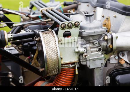 Grob 109b motor glider engine compartment - Stock Photo