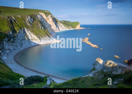 Evening overlooking Man O War Bay along the Jurassic Coast, Dorset, England - Stock Photo