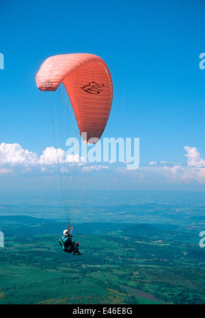 Paraglider in the Auvergne, France, Europe - Stock Photo