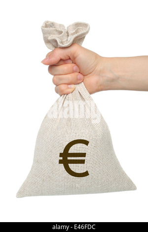 Hand holds bag with money on white background - Stock Photo