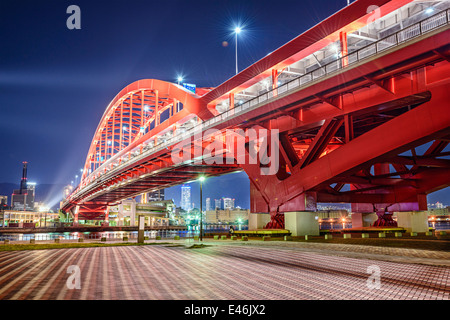 Kobe, Japan at Port Island Bridge. - Stock Photo