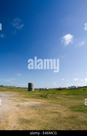loophole towers on a golf course in Guernsey channel islands - Stock Photo