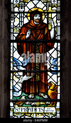 Rochester, Kent, England, UK. Rochester Cathedral. Stained Glass Window - St Francis of Assisi - Stock Photo
