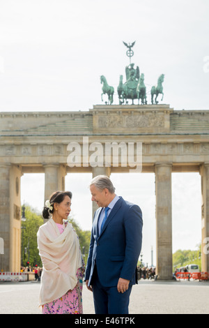Berlin, Germany, Aung San Suu Kyi, NLD, and Klaus Wowereit, SPD - Stock Photo