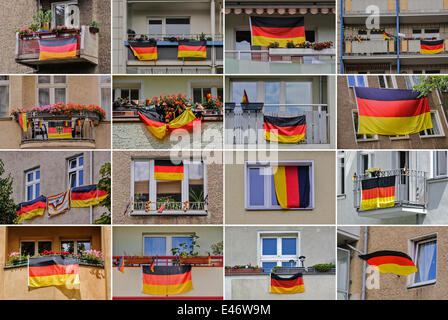 Berlin, Germany. 2nd July, 2014. COLLAGE: Germany-flags hangs on facades of a buildings, on July 2, 2014 in Berlin, - Stock Photo