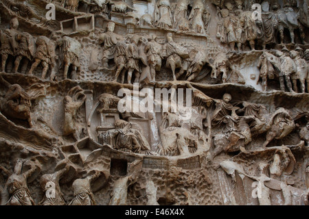 Relief carvings on the 'Triumphal Arch of Septimius Severus'. Roman Forum, Rome, Lazio, Italy. - Stock Photo