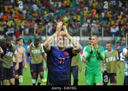 WM 2014, Salvador da Bahia, der zweifache Torschütze Arjen Robben nach dem Spiel, Holland vs. Spanien (5:1). Editorial - Stock Photo